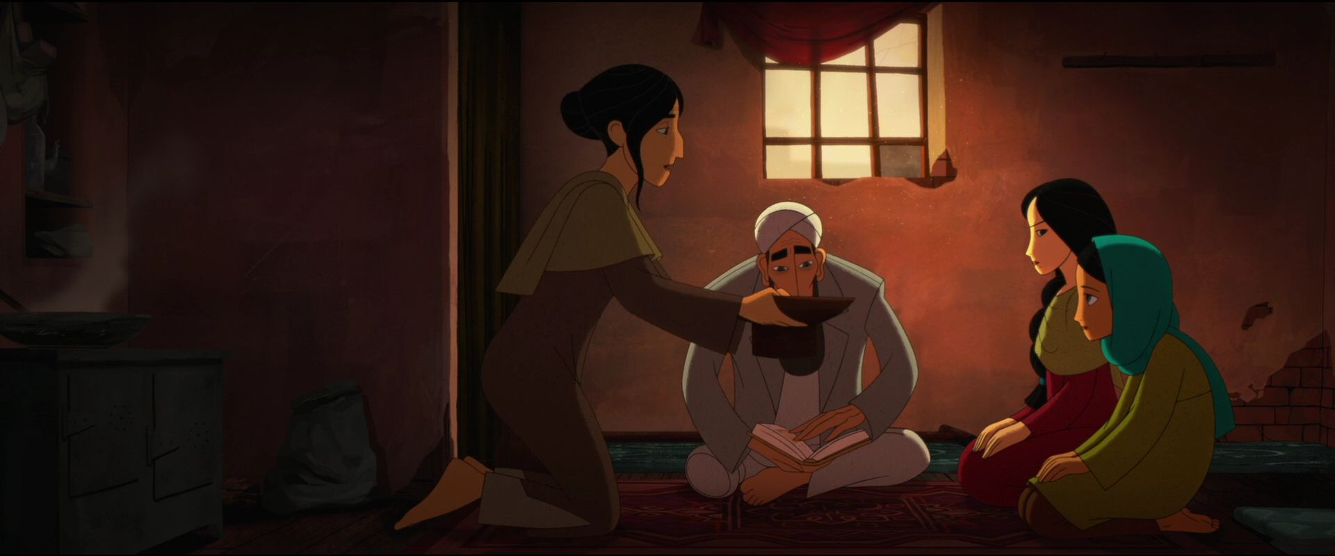 screencap from the breadwinner movie with 4 characters in sitting in semi circle
